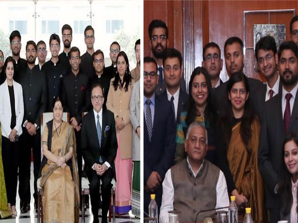 Saurab sabhlok (IFS) With honorable Sushma Swaraj (Minister of External Affairs Indian foreign service) and Honorable V.K Singh(Minister of State for External Affairs)